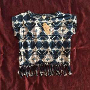 NWT Tribal Denim & Supply Top with Fringe
